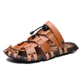 Men Microfiber Leather Breathable Hollow Soft Sole Casual Sandals