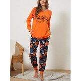 Plus Size Women Halloween Cartoon Pumpkin & Ghost Elastic Waist Jogger Pants Cozy Pajama Set