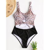 Women Tie Front Cut Out Swimwear Leopard Patchwork One Piece