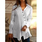 Женские хлопковые повседневные рубашки с длинными рукавами и отворотом с нерегулярными пуговицами и v-образным вырезом