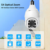 ECQ06-5MP-5X IP 5 x Optical Zoom  Camera WiFi Wireless Auto Tracking 5MP Night Vision PTZ Waterproof Speed Dome Surveillance PTZ Camera E27 Connector TF Card Storage