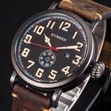 CURREN 8283 Calendar Casual Style Leather Men Wristwatch
