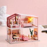 子供のおもちゃのためのカバーが付いているDIYによって組み立てられる人形の家のかわいい部屋の温暖化の生命テーマ