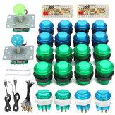 DIY Joystick Arcade Kits 20 LED Arcade-Tasten + 2 Joysticks + 2 USB Encoder Kit + Kabel Arcade Game Parts Set