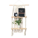 2 Layers Woven Macrame Wooden Wall Shelf Modern Plant Holder Home Office Hanging Decor
