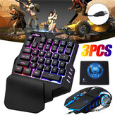 G92 3 in 1 Wired USB2.0 Plug and Play 4 Colors Breathing Light Mechanical Feel One-Handed Keyboard + Mouse for LOL Dota PUBG