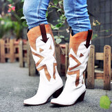 Large Size Women Pointed Toe Splicing High Square Heel Long Cowboy Boots