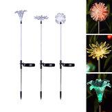 Lâmpadas LED de energia solar Lily Flower Stake Lamp Lâmpadas de paisagem para caminho de jardim ao ar livre