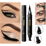 2 in 1 Black Liquid Eyeliner Wing Seal Stamp Potlood Snelle Droge Waterdichte Make-up