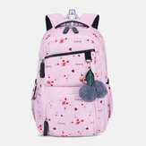 Women Fluffy Ball Print Anti-theft Multifunction Laptop Bag Backpack