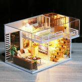 Diyのドールハウス家具ミニチュアドールハウスダストカバー木製ドールハウスライトハウス用人形手作りおもちゃ子供のため