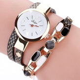 DUOYA DY106 Fasjonable Kvinner Armbåndsur Vintage Leather Strap Quartz Watch