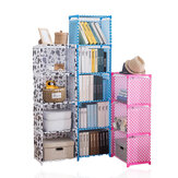4/5 Layers Fabric Bookshelf Simple Multifunctional Debris Storage Rack Cabinet Files Books Display Shelving Unit DIY Assembled Bookcase