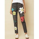 Casual Flower Print Button Denim Long Jeans For Women