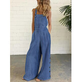 Women Denim Solid Color Button Loose Overalls Casual Wide Leg Pocket Jumpsuits