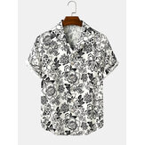 Mens Cotton Vintage Floral Print Short Sleeve Lapel Collar Casual Shirts