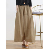 Women Solid Color Patchwork Elastic Waist Casual Wide Leg Pants with Side Pockets
