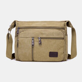 Men Canvas Large Capacity Simple Shoulder Bag Crossbody Bag For Travel