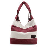 Women Casual Stripe Canvas Handbags Capacity Shoulder Bags Contrast Color