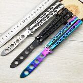 HUOHOU Colorful Stainless Steel EDC Knife Butterfly Training Outdoor Knife Competition Knife Blunt Tool No Blade Balisong Trainer