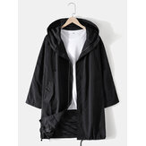 Mens Solid Zip Front Cotton Casual Drawstring Hem Mid Length Hooded Jacket