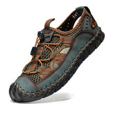 Men Cowhide Leather Hand Stitching Mesh Breathable Soft Bottom Casual Outdoor Sandals