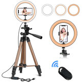 Controllabile 6 pollici 10 pollici LED Selfie Ring Light + Treppiede + Supporto per telefono Fotografia YouTube Video Trucco Streaming live con remoto Otturatore per iPhone Android Smart Phone