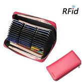RFID Women Genuine Leather 36 Card Slot Phone Purse Wallet