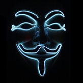 Halloween V-Vendetta Maschera LED Faccia lampeggiante luminosa Maschera Party Mascheras Light Up Dance Halloween Cosplay