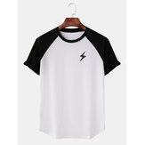 Erkekler Casual Yıldırım Baskı Raglan Kollu T-Shirt