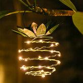 LED Cobre Alambre Luces de cuerda Herrajes decorativos de piña Solar Luz de alimentación para jardín de habitaciones