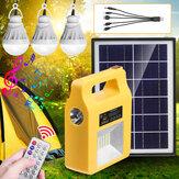 Sistema gerador solar bluetooth portátil Emergência LED Lâmpada de acampamento e rádio player + controle remoto