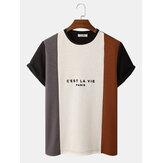 Heren T-shirts met gebreide aderen en patchwork ronde hals met letterprint