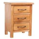 KCASA Stolik nocny z litego drewna dębowego z 3 szufladami do przechowywania Salon Stojak do sypialni Brązowy 15,7