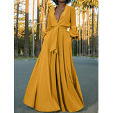Long Sleeve V-neck Tie Waist Button Split Casual Maxi Shirt Dress