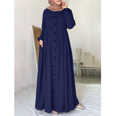 Women Solid Color Button Down Front O-Neck Pleated  Puff Sleeve Maxi Dress With Pocket