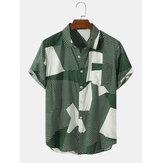 Mens Cotton Irregular Color Block Striped Print  Casual Short Sleeve Shirts