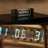 Assembled IV-18 Fluorescent Tube Clock 6 Digital Display Aluminum Alloy Energy Pillar With Remote Control