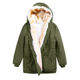 Women Thick Cotton Elastic Waist Hoodie Coat
