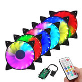 Coolmoon 6PCS 120mm RGB Adjustable LED Cooling Fan with Controller Remote For Computer