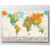 Modern World Map Vintage Wall Art Poster Frameless Non-woven Canvas Painting School Supplies Home Living Room Decoration