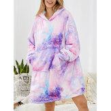 Mulher Starry Sky estampa superdimensionada cobertor espesso reversível com capuz e roupa de casa confortável com bolso