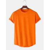 T-shirts décontractés à manches courtes en coton de couleur unie