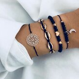 Bohemian Bracelet Set Geometric Hollow Rope Bracelet