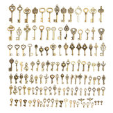 128Pcs Vintage Bronze Key For Pendant Necklace Bracelet DIY Handmade Accessories Decorations