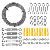 30m Heavy Duty Wire Rope Cable Hooks Stainless Steel Turnbuckle Cord Hanging Kit