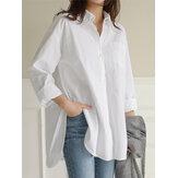 Women Daily Casual Cotton Irregular Hem Commute Loose Shirts