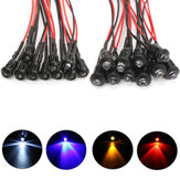10Pcs 12V lampeggiante Pre-Wired LED Bulbo Clear Water ultra chiaro con involucro di plastica