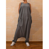 Vintage Women Casual Loose Sleeveless Round Neck Zipper Back Jumpsuit