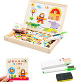 Wooden DIY Magnetic Drawing Board Forest Paradise Children's Early Educational Learning Toys